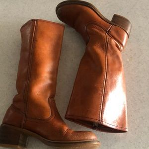 Vintage brown leather riding boots from the 70s